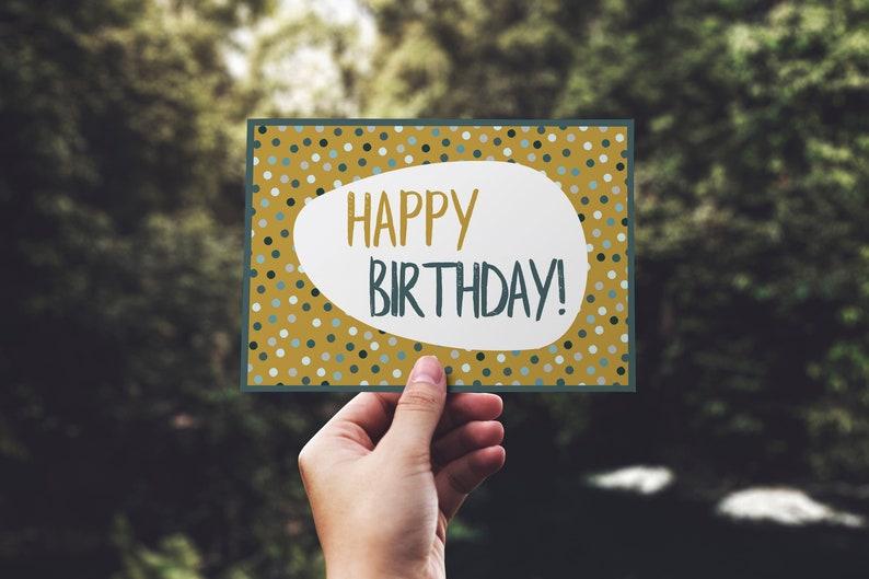 Printable Birthday Card Happy Yellow