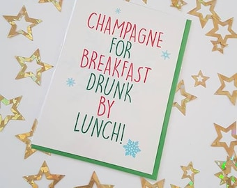 18+  Champagne for breakfast.. Christmas Card
