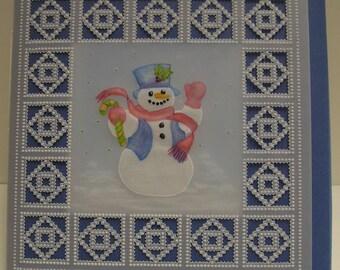 Parchment Snowman Christmas Card