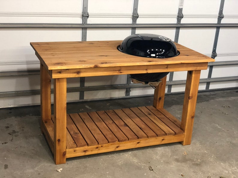 Weber Kettle grill table, Cedar (New Weber Grill Included!) LOCAL PICKUP