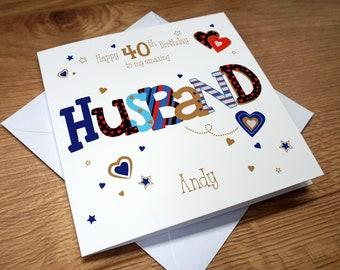 Personalised HUSBAND 40TH Birthday Card