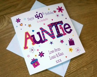 Personalised AUNTIE 40TH Birthday Card