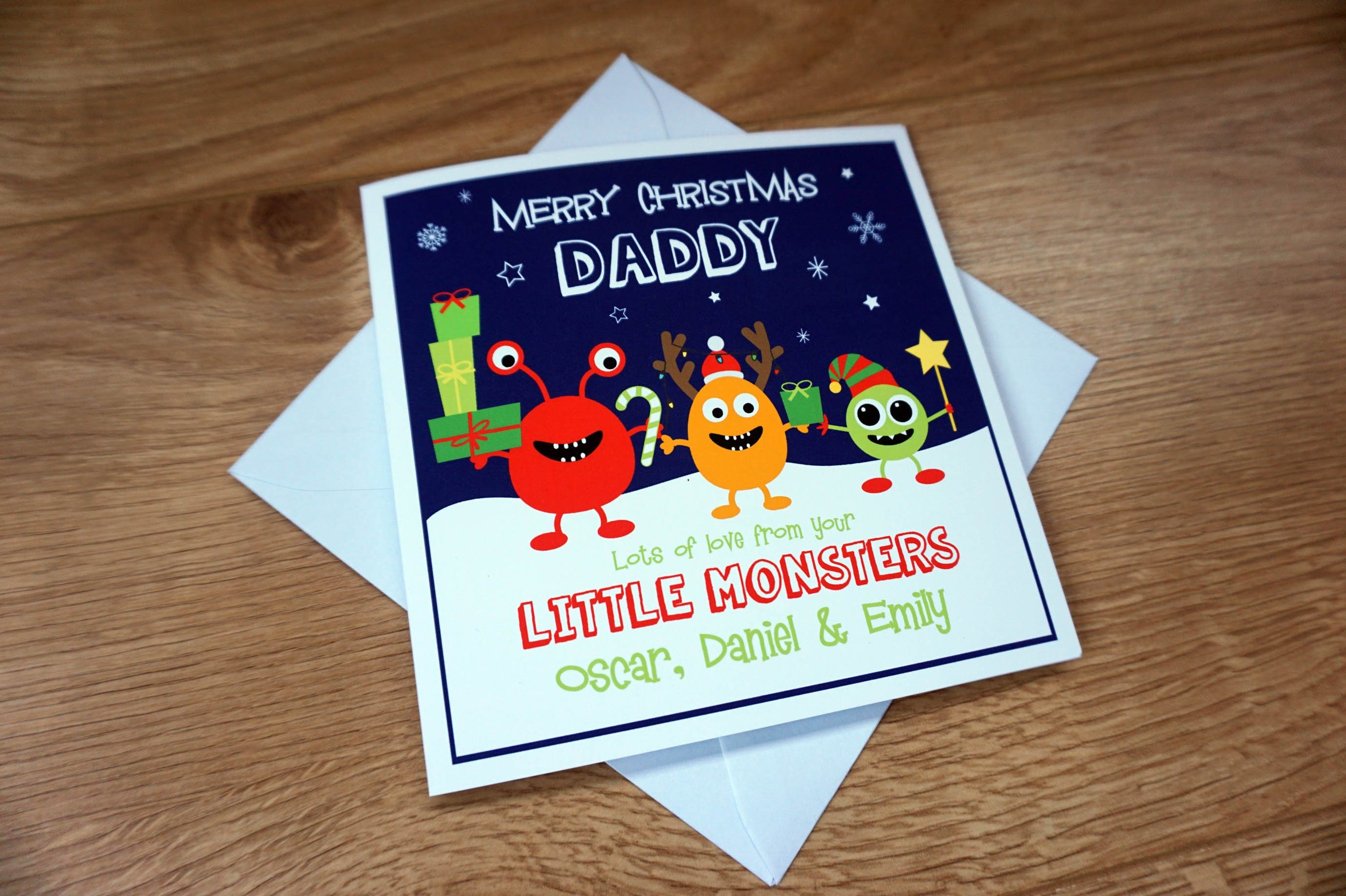 Feesten Speciale Gelegenheden Personalised BIRTHDAY Card Dad Daddy Little Monsters Any Message Names