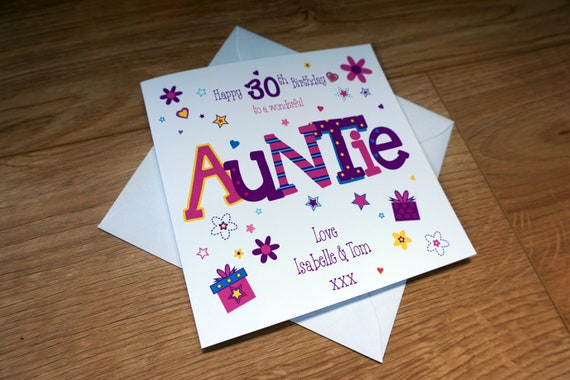 Personalised 30th birthday card Auntie Any Age//Name//message