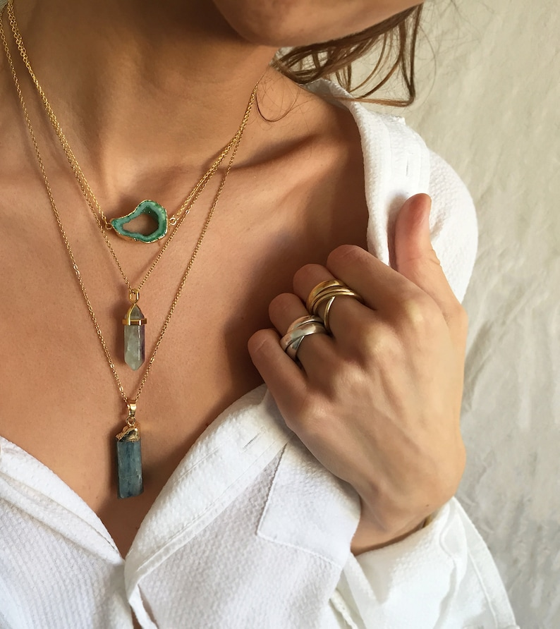 long crystal necklace gold filled chain Rainbow fluorite necklace gold long genuine chakra necklace raw fluorite pendant
