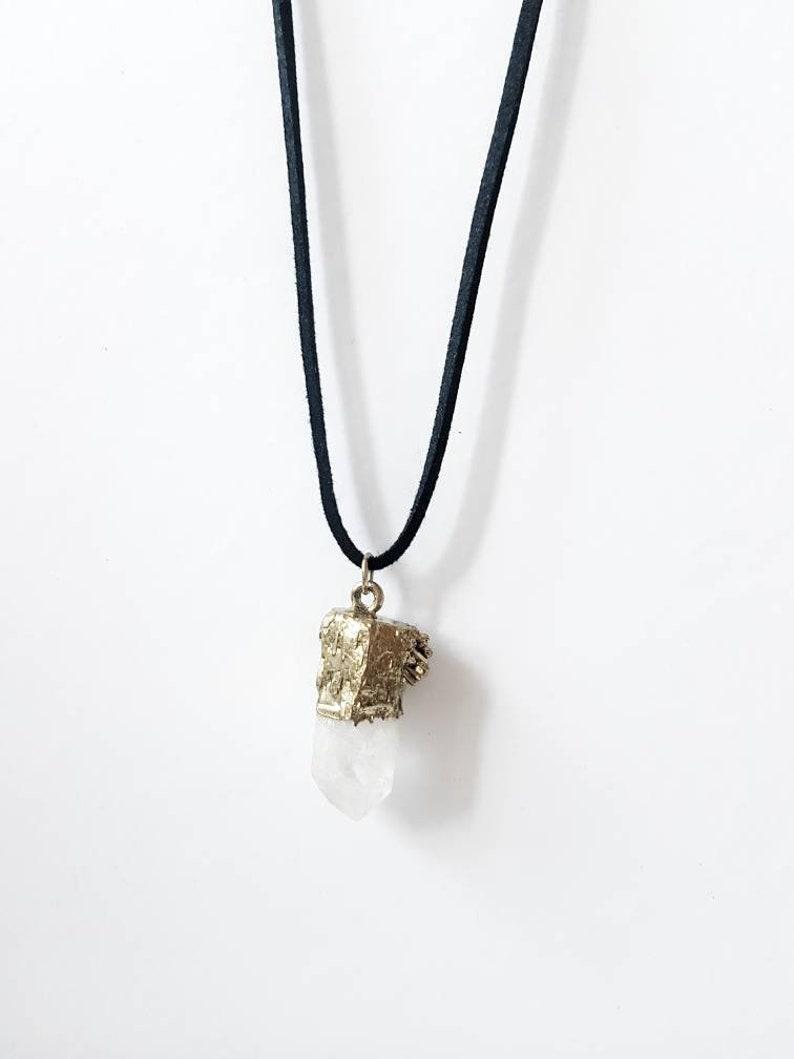 Gold Plated Gemstone Jewellery Chakra Necklace Raw Quartz Quartz Point Necklace