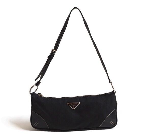 Authentic Prada Nylon Mini Shoulder Baguette Bag i