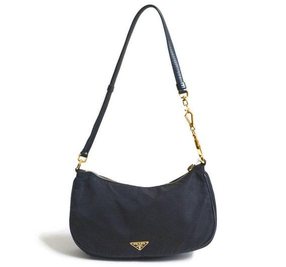 Authentic Prada Nylon Shoulder Bag with Rare Gold