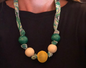 Green and Gold Paisley Fabric Necklace