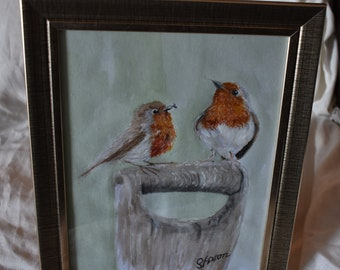 Robins on a Fork Handle Watercolour Painting  in a 9.5 by 11.5 Frame