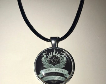 Supernatural Necklace on Faux Leather Cord