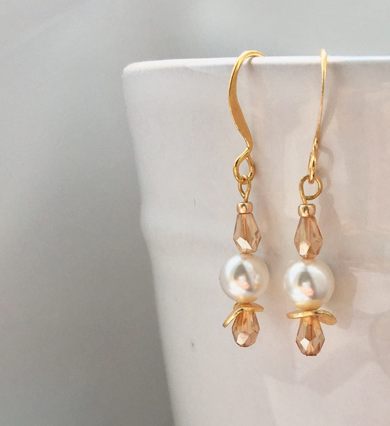 Gold and Pearl Earrings Gift for Her Flowergirl Bride Boho Birthday Gold Champagne Wedding Chic Elegant Bridesmaid Lightweight