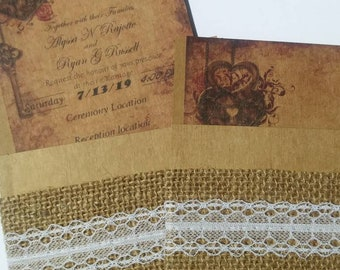 100 Vintage wedding invitations custom
