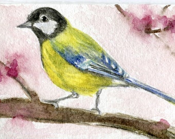 ACEO Original, Watercolor Art, Painting,The Great Tit Bird, Illustration, Songbird, Small Gift, Birdlovers