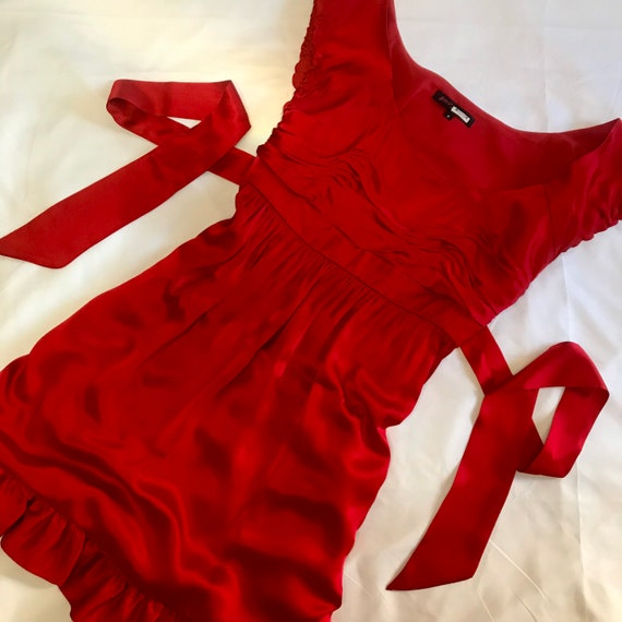 1990s Betsey Johnson Cherry Red 100% Silk Slip Dre