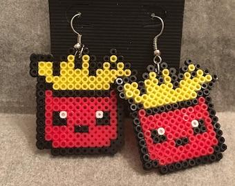 French Fry Earrings - Mini Perler Beads