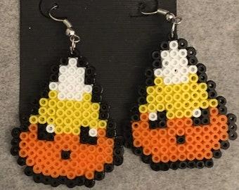 Halloween Candy Corn Perler Dangle Earrings
