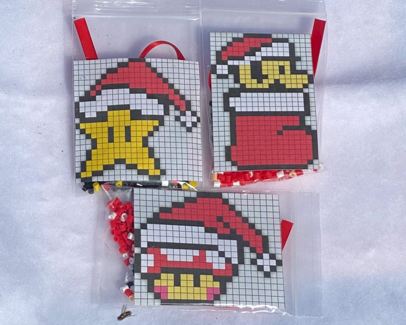 DIY Perler Bead Christmas Ornament Craft Kits Mario Star image 0