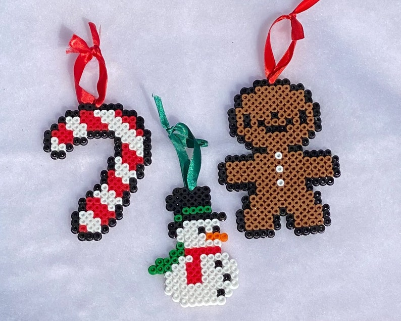 Perler Bead Christmas Ornaments Candy Cane Snowman and image 0