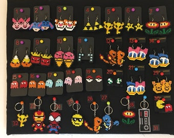 115+ Geeky Fun Movie/Game Inspired Earrings, Keychains & Clips- Mini Perler/ Artkal beads