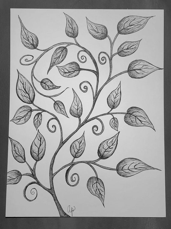 Leaves 1 Nature Art Stylized Leaves Pen And Ink Leaves Etsy