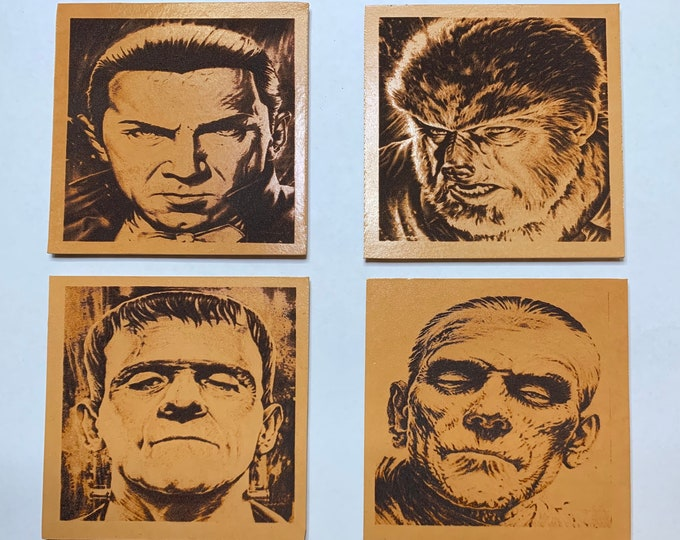Universal Monster Coaster Leather Set Dracula Wolfman Frankenstein Mummy