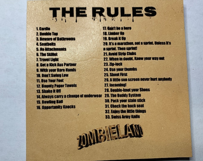Zombieland Rules Leather Coaster List of Rules