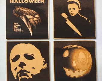 Michael Myers Halloween John Carpenter Leather 4 Piece Coaster Set