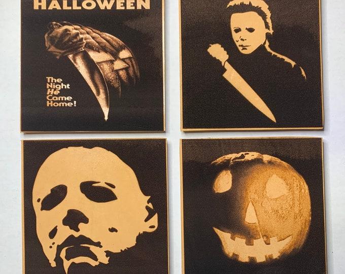Michael Myers Halloween John Carpenter Leather 4 Piece Coaster Set