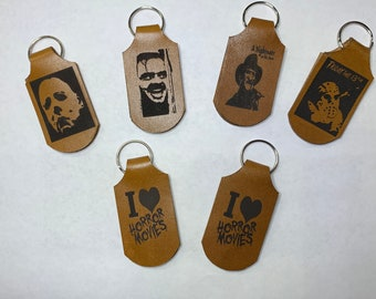 Horror Movie Keychain Leather Key ring Myers Krueger Voorhees Shinning