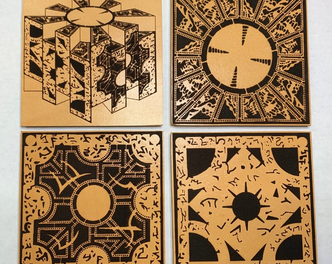 Pin Head Hellraiser Puzzlw Box Cube Leather 4 Coaster Set