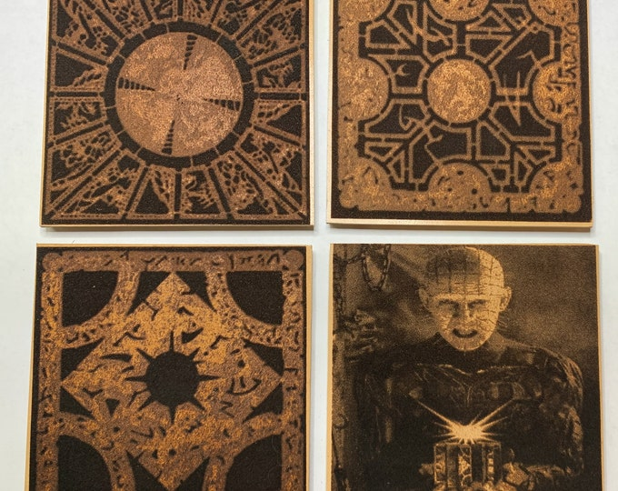Hellraiser Pin Head Puzzle Coaster Set Leather Clive Barker Doug Bradley