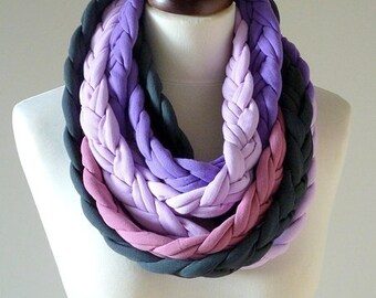 necklace with braids, braid necklace, cotton necklace, thick colored chimney,original gift, purple, necklace for mom