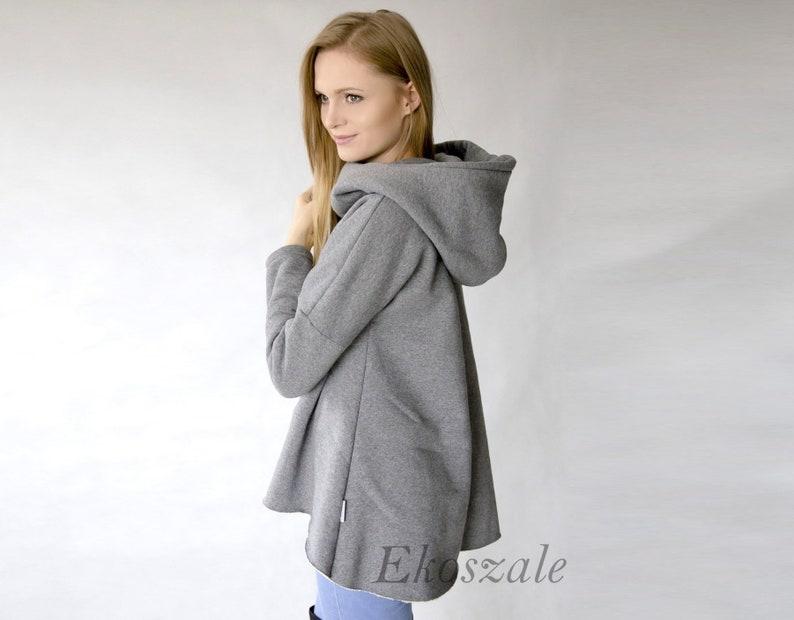 1dad37eeb Ciepła szeroka bluza damska bluza z kapturem asymetryczna | Etsy