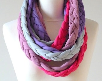 necklace with braids, braid necklace, cotton necklace, thick colored chimney,original gift, purple-grey colors