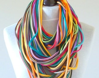knitted necklace colored strings infinity