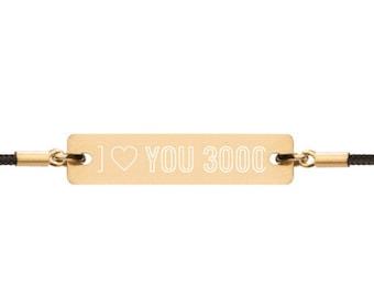 Engraved Silver Bar String Bracelet - I Love You 3000