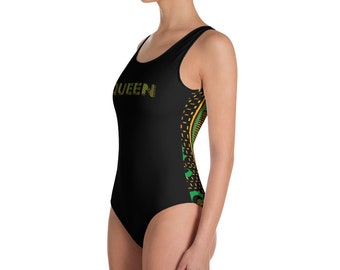 be6f3c556aa One-Piece Swimsuit - Queen - Jamaican Kente African Print