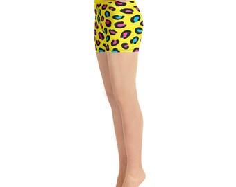 Yoga Shorts - Yellow Neon Animal Print - I Love the 80's