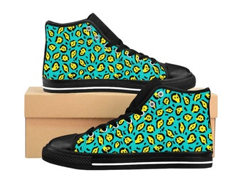 Men's High-top Sneakers - Green & Yellow Neon Animal Print