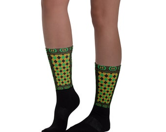 Socks - Jamaican Kente African Print