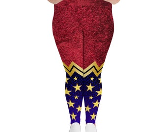 All-Over Print Plus Size Leggings - Wonder Woman