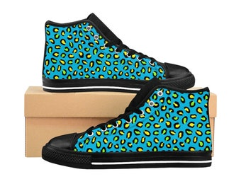 Men's High-top Sneakers - Blue & Yellow Neon Animal Print