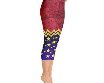 Yoga Capri Leggings - Wonder Woman