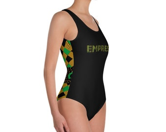 One-Piece Swimsuit - Empress - Jamaican Kente African Print