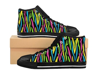 Women's High-top Sneakers - Black Neon Animal Print