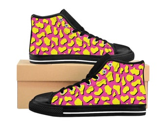 Women's High-top Sneakers - Neon Pink & Yellow Print