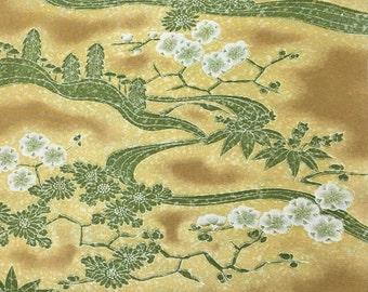 Kimono fabric 210cm vintage 1970s from unpicked authentic Japanese haori jacket silk