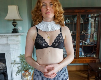 7915aa9fd60 Vintage 1950 s Black Lace and Satin Soft Shell Bra By St Michael - Size 34A