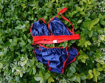 6f0b9e7e6 Vintage 1960 s Lingerie Set  bra and pants  soft shell navy satin w  red  trim - Size XS